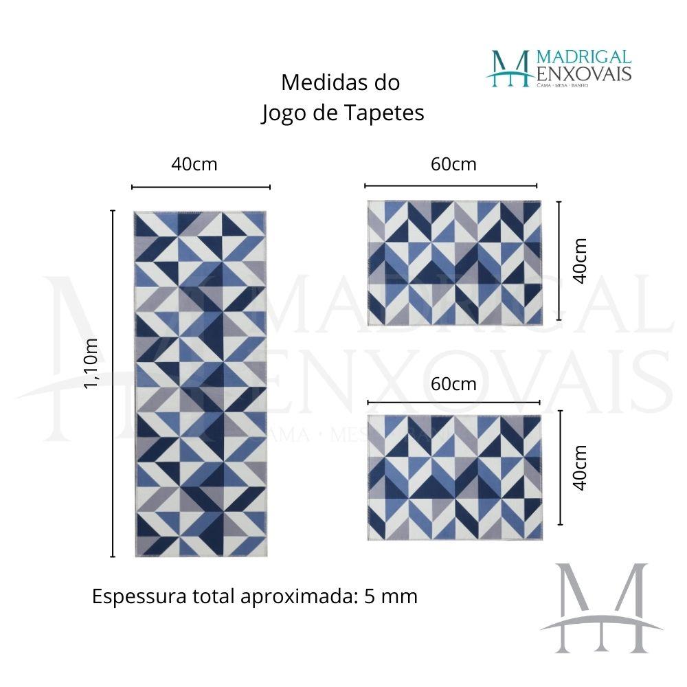 Jogo de Tapete Cozinha Jolitex Allegra 03 Peças Geométrico