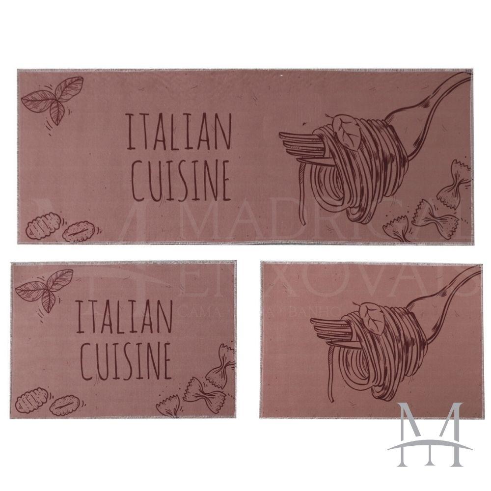 Jogo de Tapete Cozinha Jolitex Allegra 03 Peças Italian