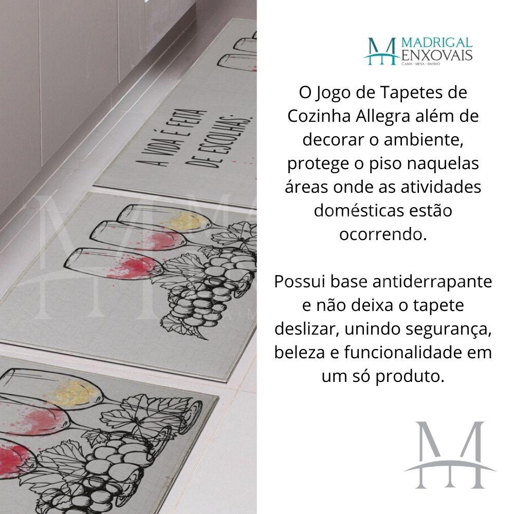Jogo de Tapete Cozinha Jolitex Allegra 03 Peças Vinho