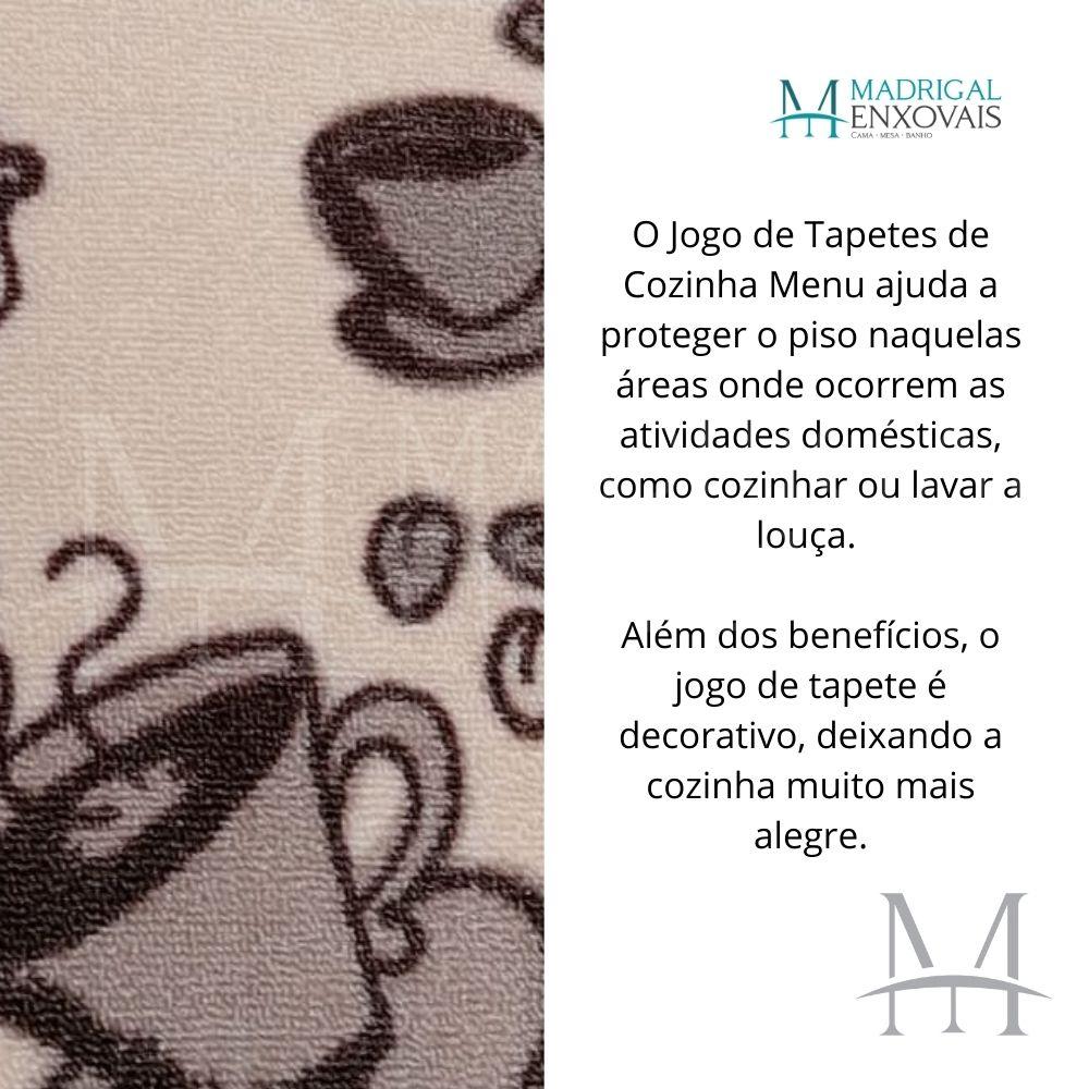 Jogo de Tapete Cozinha Jolitex Menu 03 Peças Coffee Latte