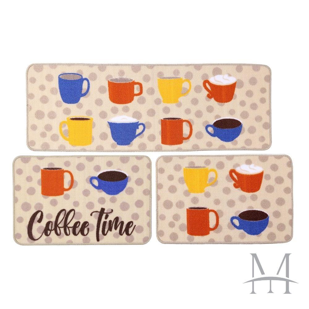 Jogo de Tapete Cozinha Jolitex Menu 03 Peças Coffee Time