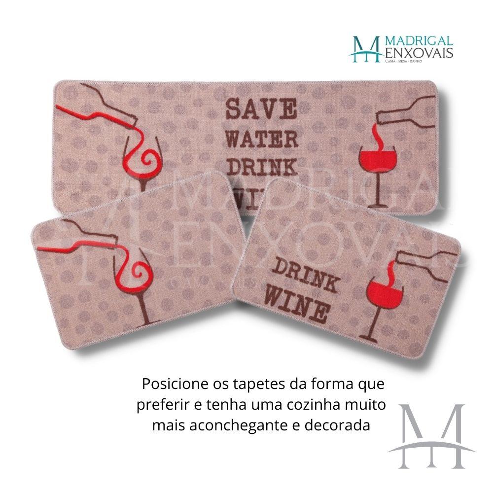 Jogo de Tapete Cozinha Jolitex Menu 03 Peças Drink Wine