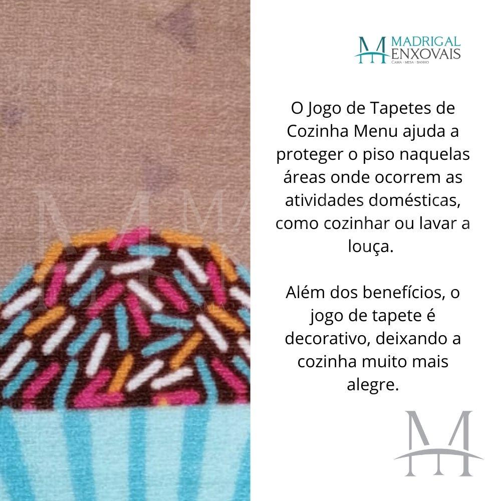 Jogo de Tapete Cozinha Jolitex Menu 03 Peças Sweet Life