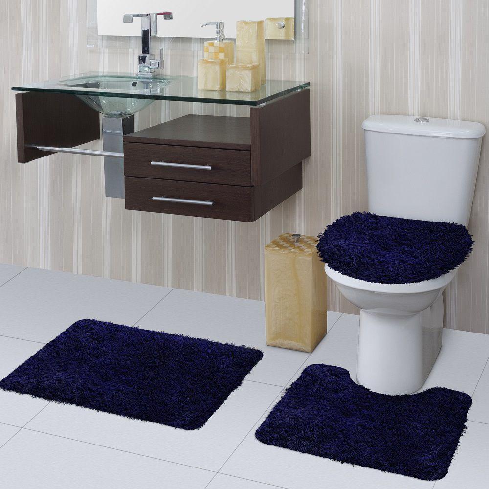 Jogo de Tapete de Banheiro Bella Azul 03 Peças Jolitex