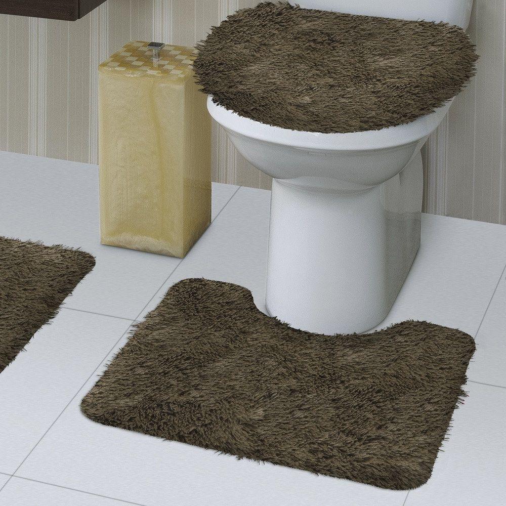 Jogo de Tapete de Banheiro Bella Caqui 03 Peças Jolitex