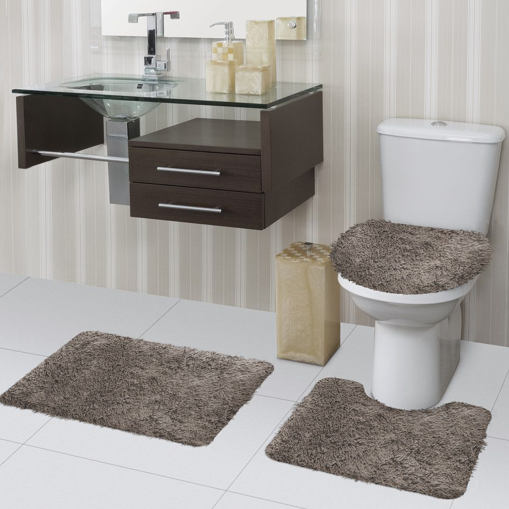 Jogo de Tapete de Banheiro Bella Fendi 03 Peças Jolitex