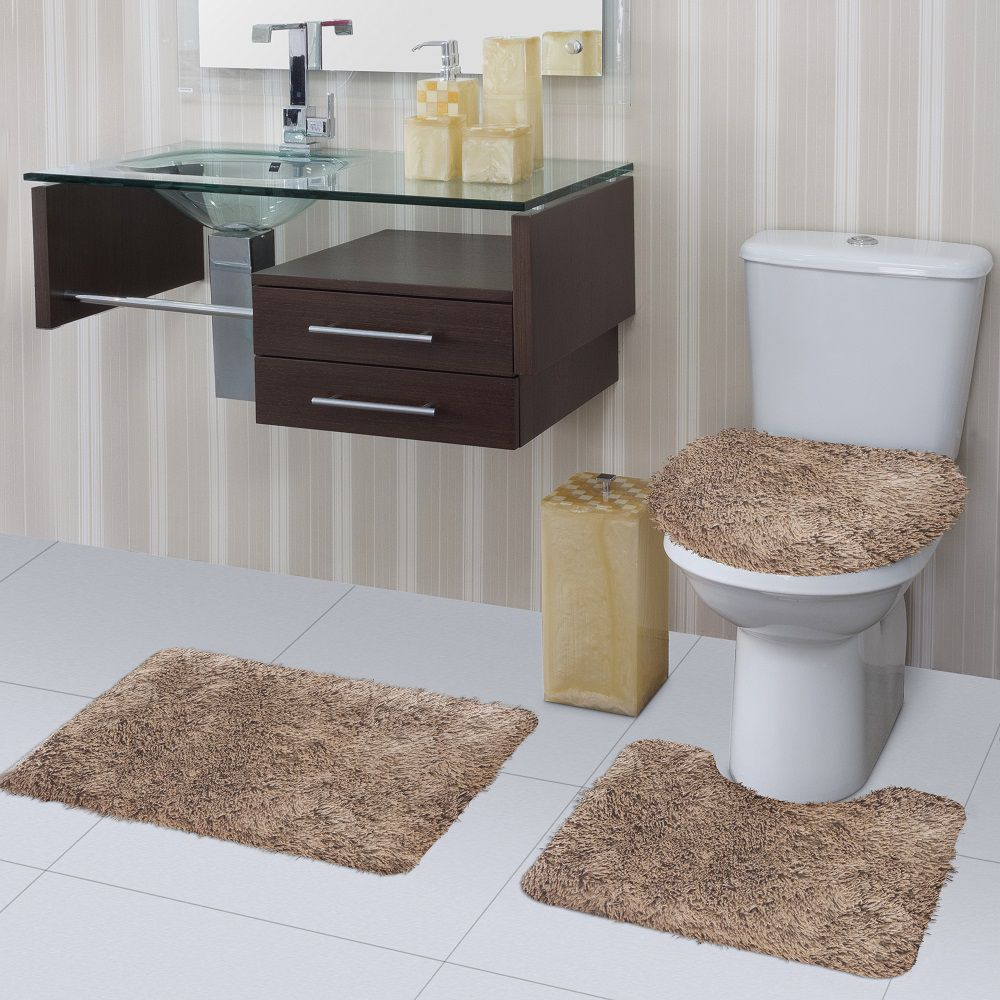 Jogo de Tapete de Banheiro Bella Havana 03 Peças Jolitex