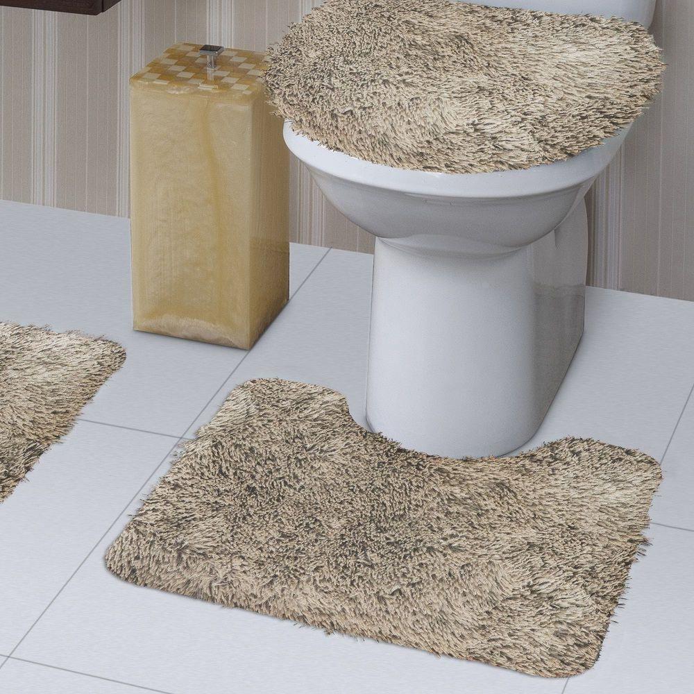 Jogo de Tapete de Banheiro Bella Marfim 03 Peças Jolitex