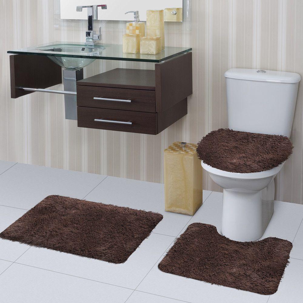 Jogo de Tapete de Banheiro Bella Marrom 03 Peças Jolitex