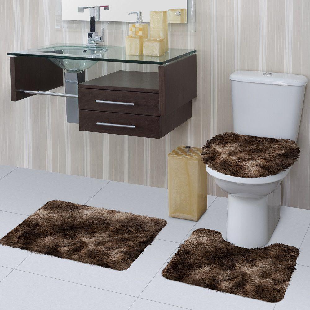 Jogo de Tapete de Banheiro Bella Mescla 03 Peças Jolitex