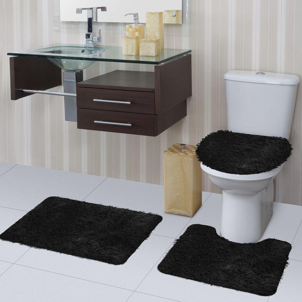 Jogo de Tapete de Banheiro Bella Preto 03 Peças Jolitex