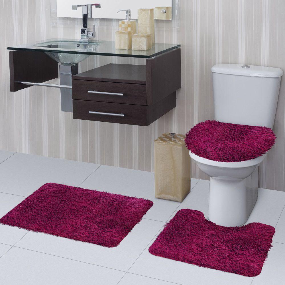 Jogo de Tapete de Banheiro Bella Rosa 03 Peças Jolitex