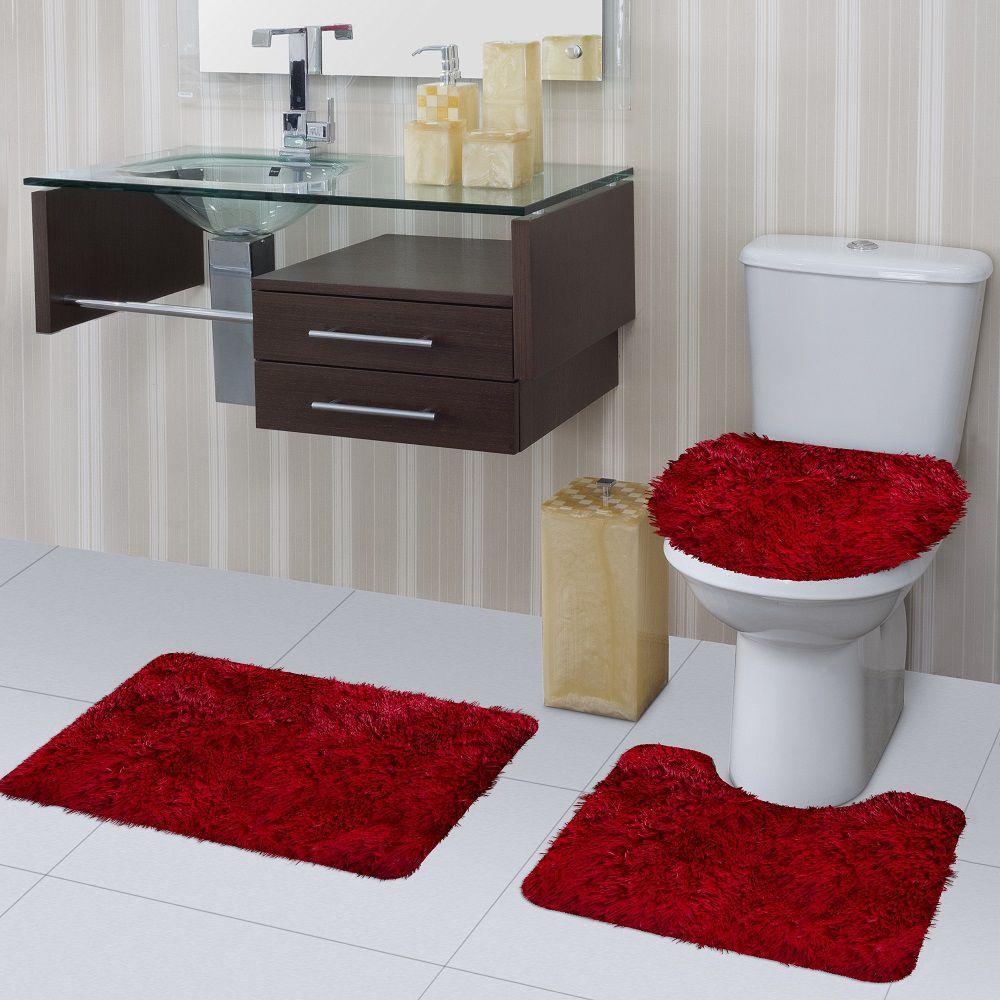 Jogo de Tapete de Banheiro Bella Vermelho 03 Peças Jolitex