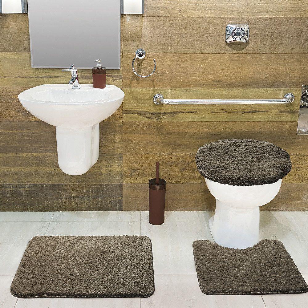 Jogo de Tapete de Banheiro Volpi Caqui 03 Peças Jolitex