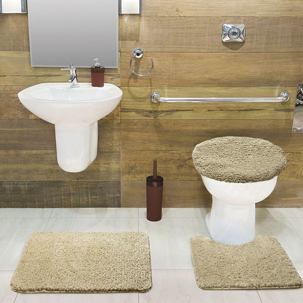 Jogo De Tapete De Banheiro Volpi Palha 03 Peças Jolitex