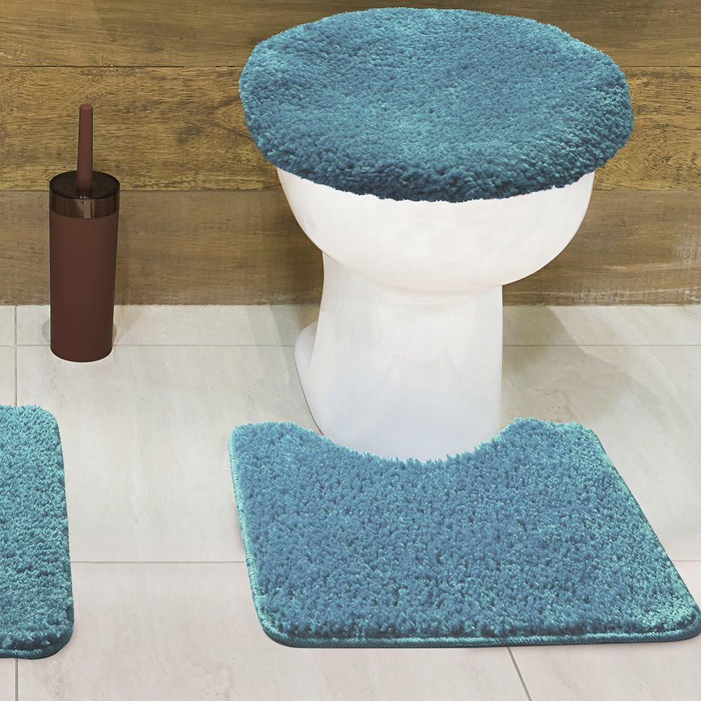 Jogo de Tapete de Banheiro Volpi Turquesa 03 Peças Jolitex