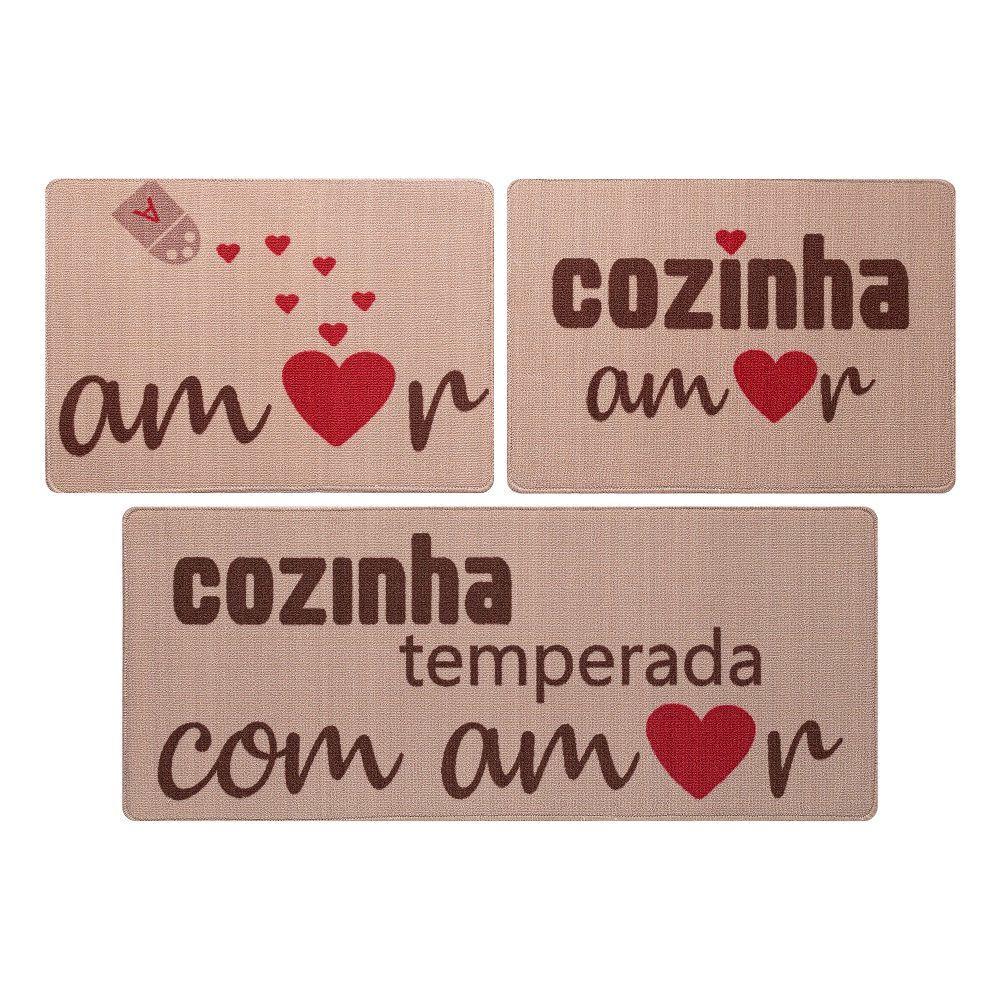 Jogo De Tapete De Cozinha Gourmet 03 Peças Amor Jolitex