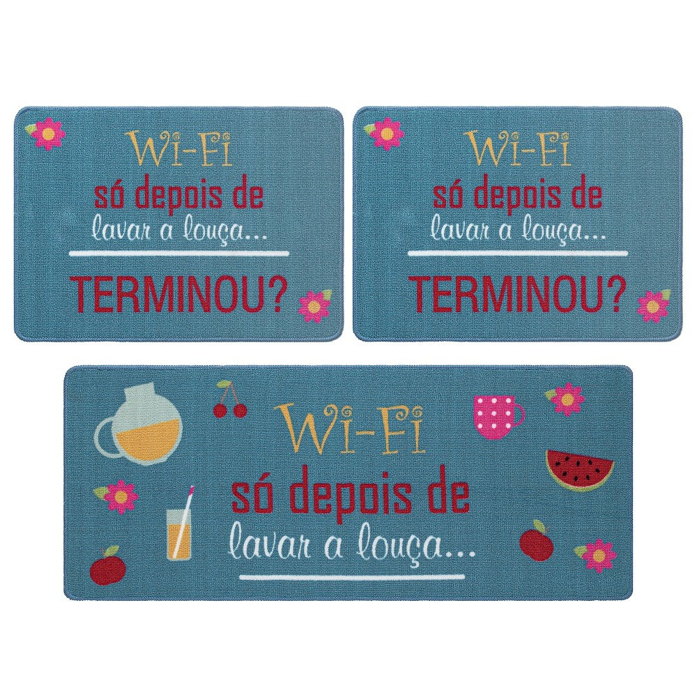 Jogo De Tapete De Cozinha Gourmet 03 Peças Wi-Fi Jolitex