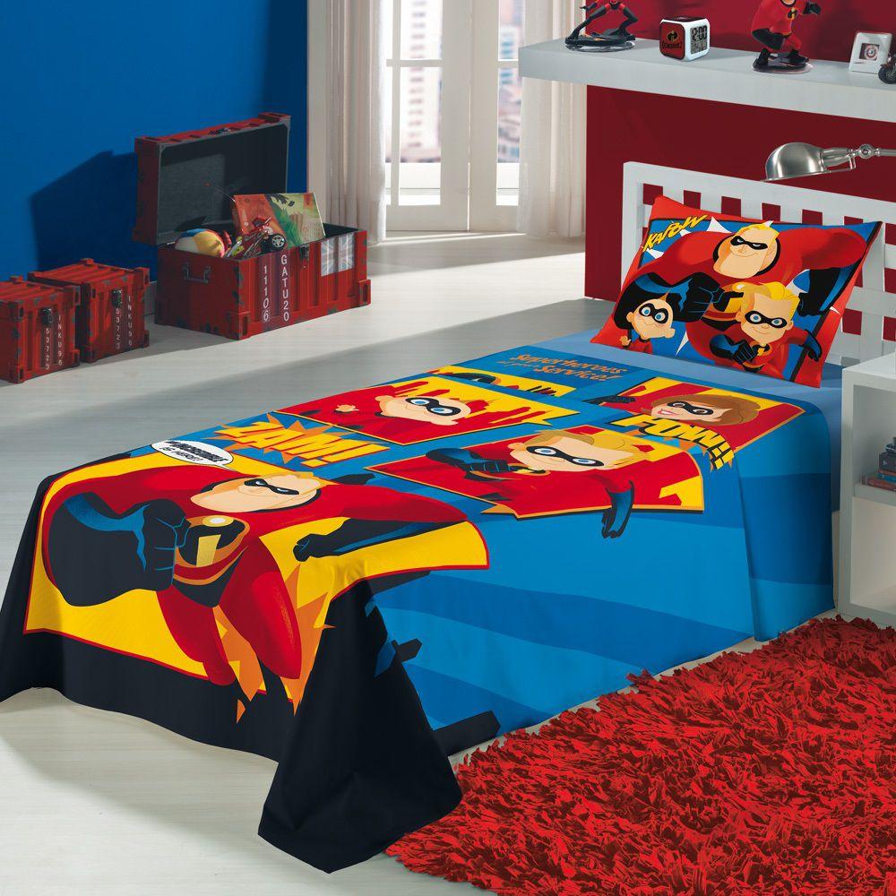 Jogo Lençol Infantil Os Incríveis 02 Peças Lepper 1,50x2,10m