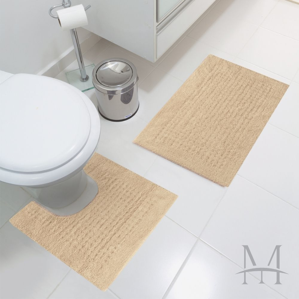 Jogo Tapete de Banheiro Jolitex Algodão Agra 02 Peças Bege