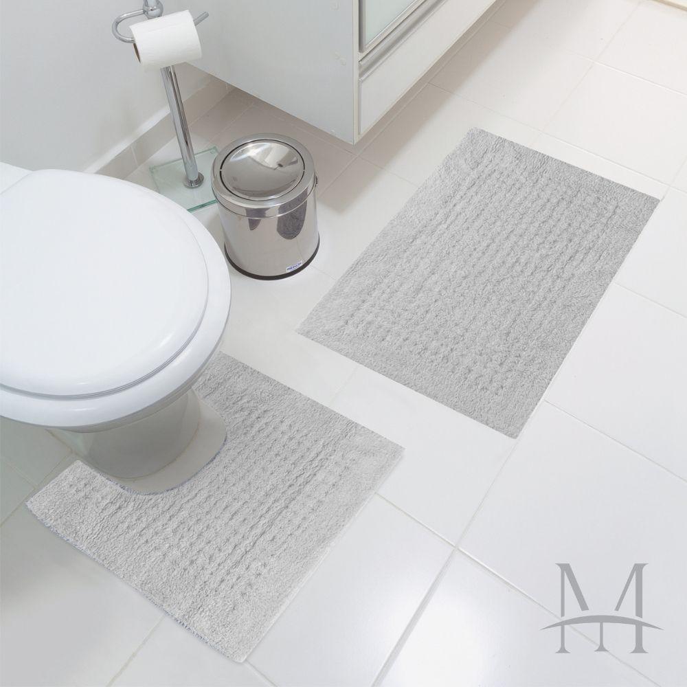 Jogo Tapete de Banheiro Jolitex Algodão Agra 02 Peças Cinza