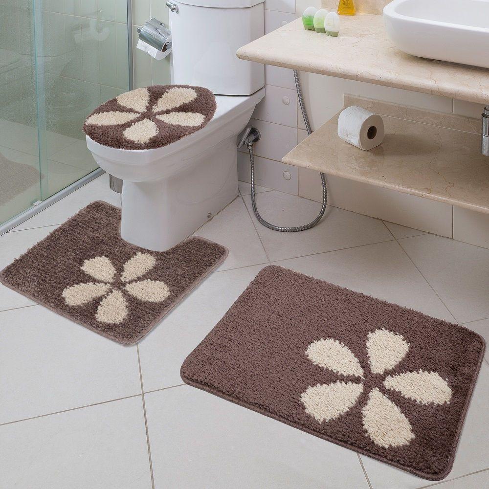 Jogo Tapete de Banheiro Van Gogh Flora 03 Peças Jolitex