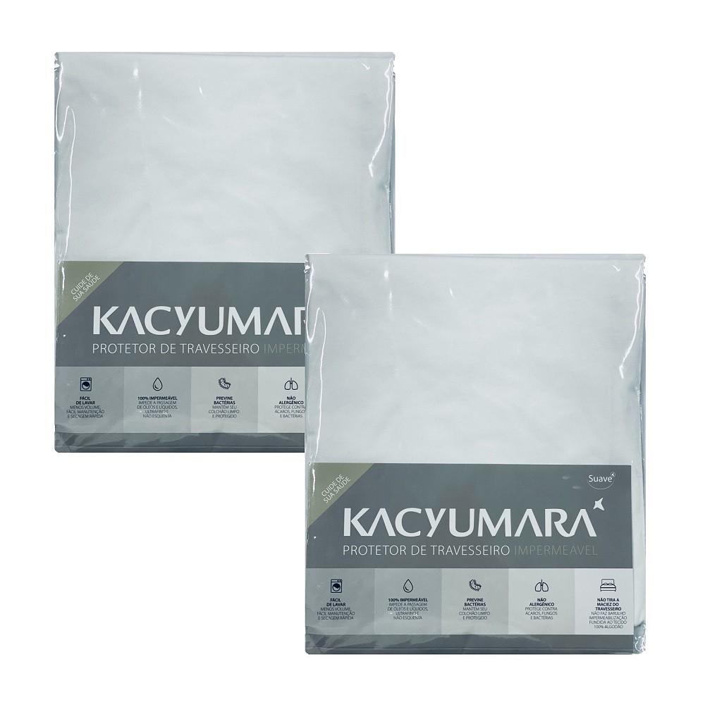 Kit 02 Capas Protetora Travesseiro Impermeável Malha Kacyumara