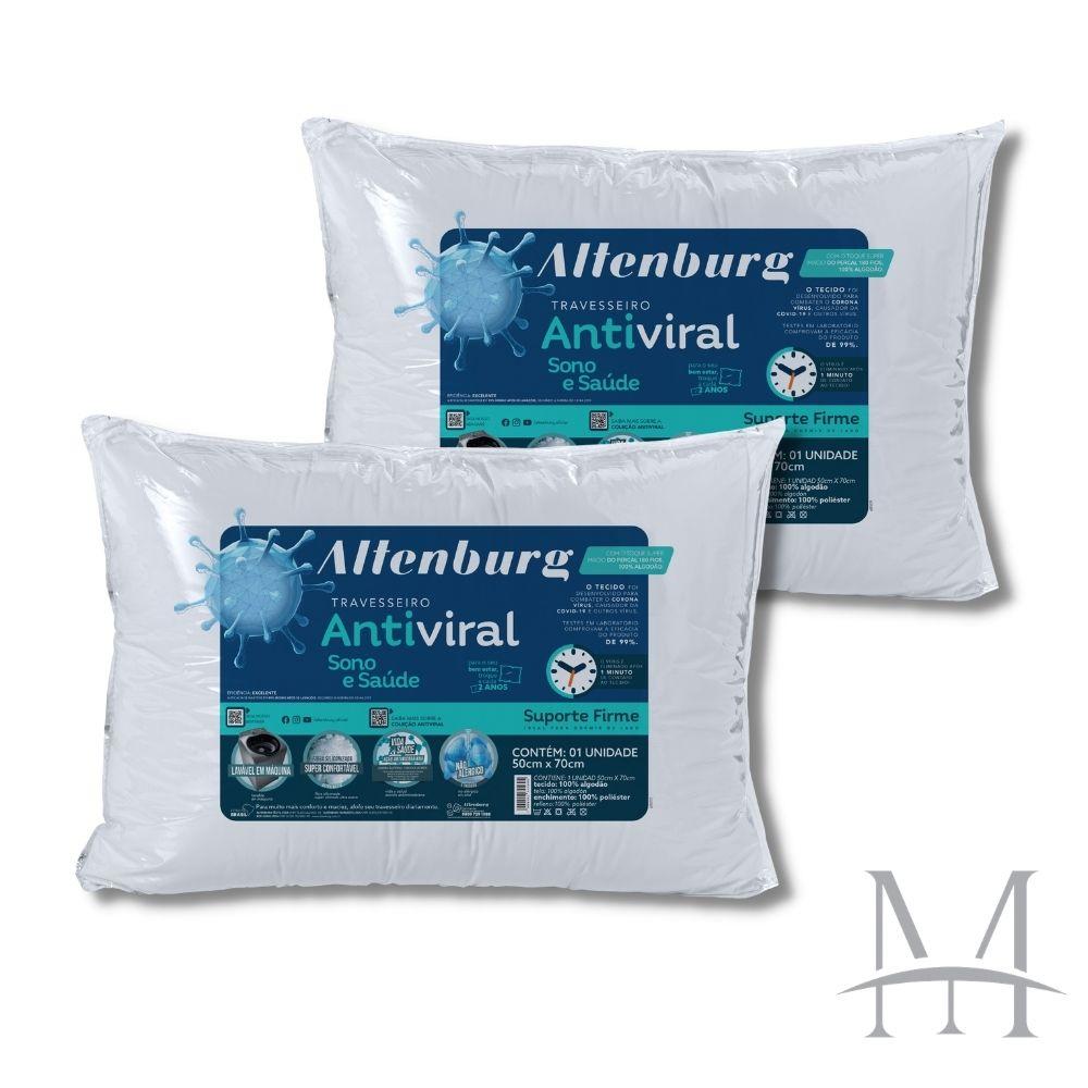 Kit 02 Travesseiros Altenburg Antiviral Suporte Firme 180 Fios