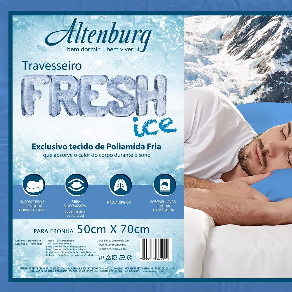 Kit 02 Travesseiros Altenburg Fresh Ice 0,48x0,70m Suporte Firme