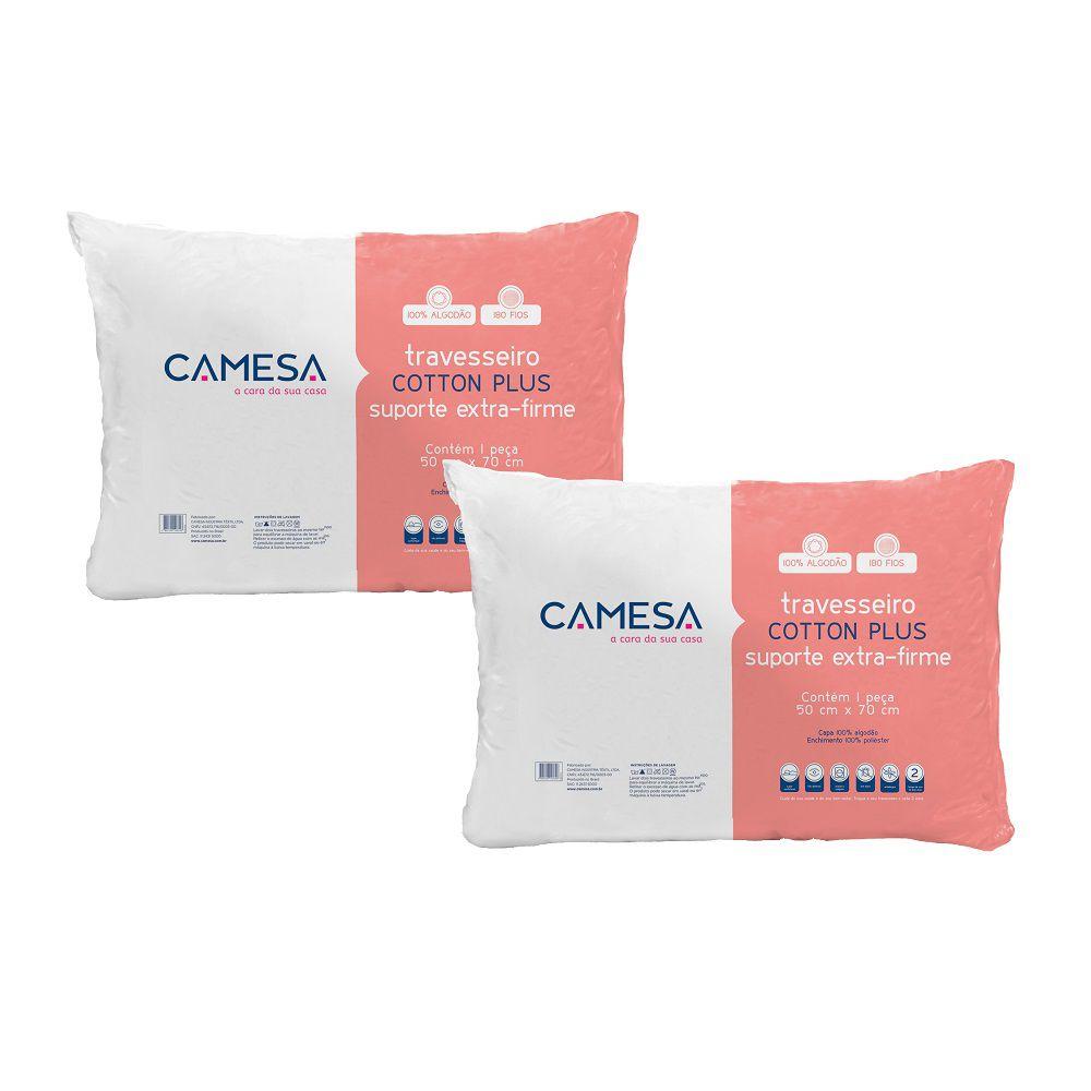 Kit 02 Travesseiros Cotton Plus 100% Algodão Suporte Extra Firme 50x70cm
