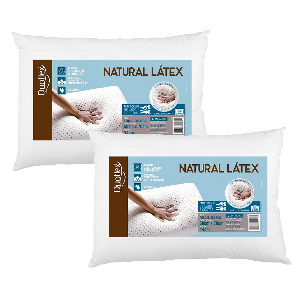 Kit 02 Travesseiros Duoflex Natural Látex 50x70x14cm LN1108