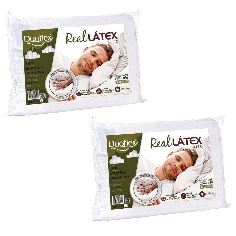 Kit 02 Travesseiros Duoflex Real Látex Capa 100% Algodão Dry Fresh 50x70x16cm
