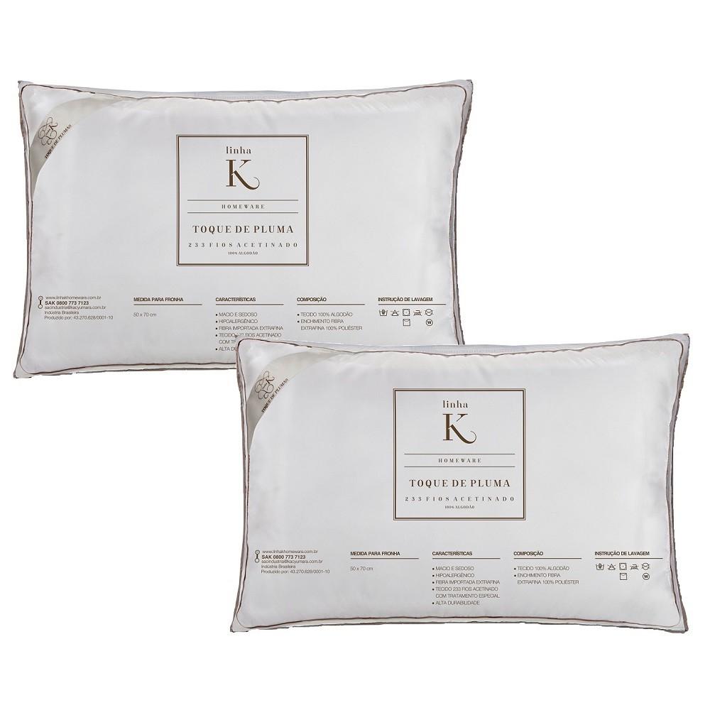 Kit 02 Travesseiros Kacyumara Toque de Pluma 100% Algodão 233 Fios