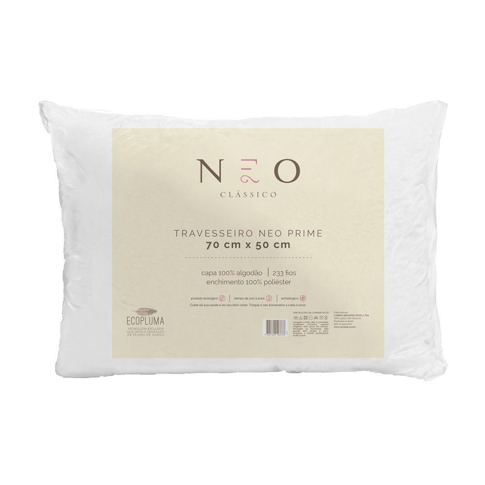 Kit 02 Travesseiros Neo Prime Ecopluma 100% Algodão 233 Fios 50x70cm