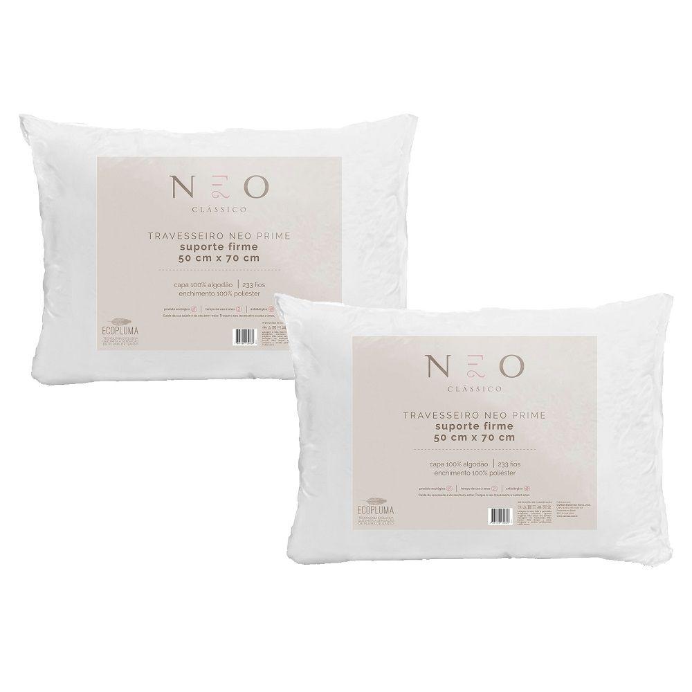 Kit 02 Travesseiros Neo Prime Ecopluma 100% Algodão 233 Fios Firme