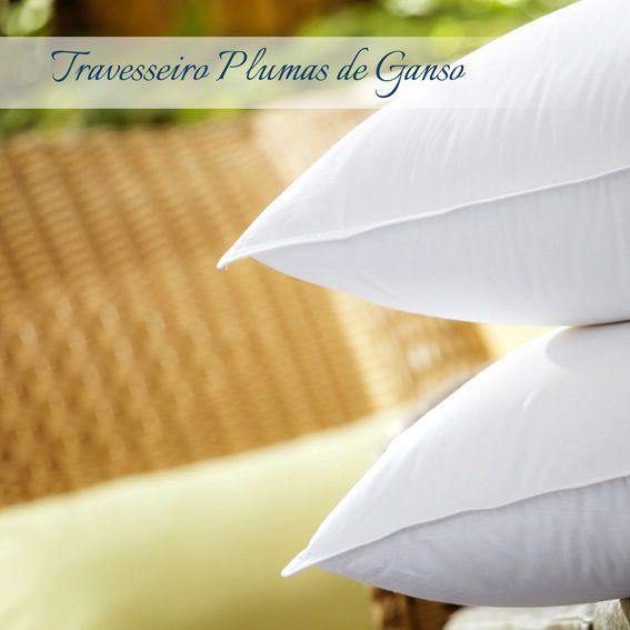 Kit 02 Travesseiros Plooma 100% Plumas de Ganso 233 Fios 0,50x0,70m
