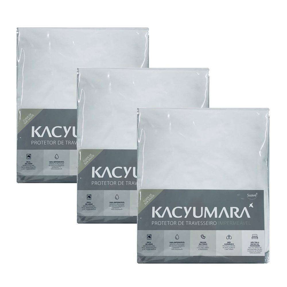 Kit 03 Capas Protetora Travesseiro Impermeável Malha Kacyumara
