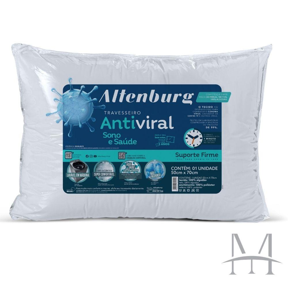 Kit 03 Travesseiros Altenburg Antiviral Suporte Firme 180 Fios