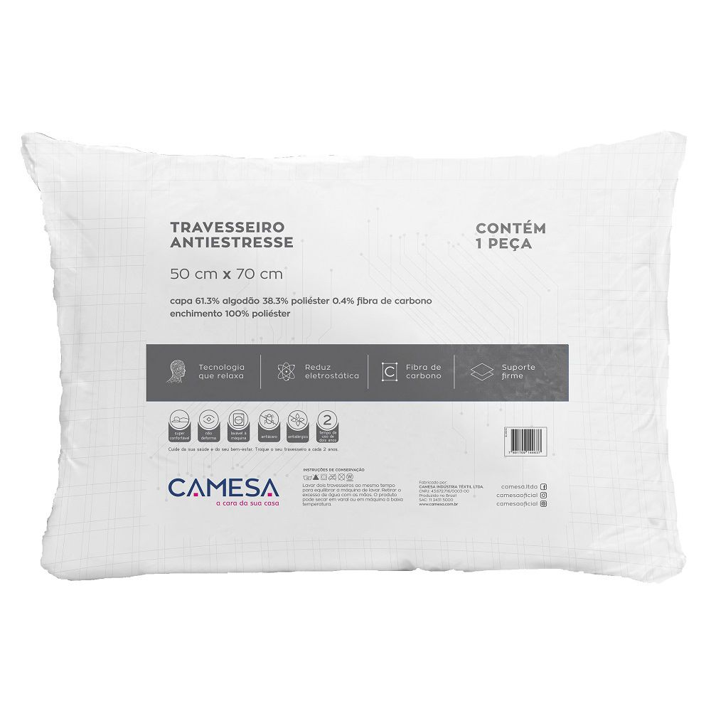 Kit 03 Travesseiros Anti Stress Camesa 0,50x0,70m Suporte Firme