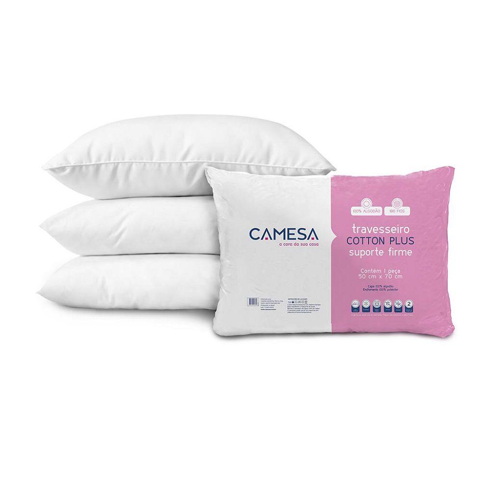 Kit 03 Travesseiros Camesa Cotton Plus 100% Algodão Suporte Firme 50x70cm