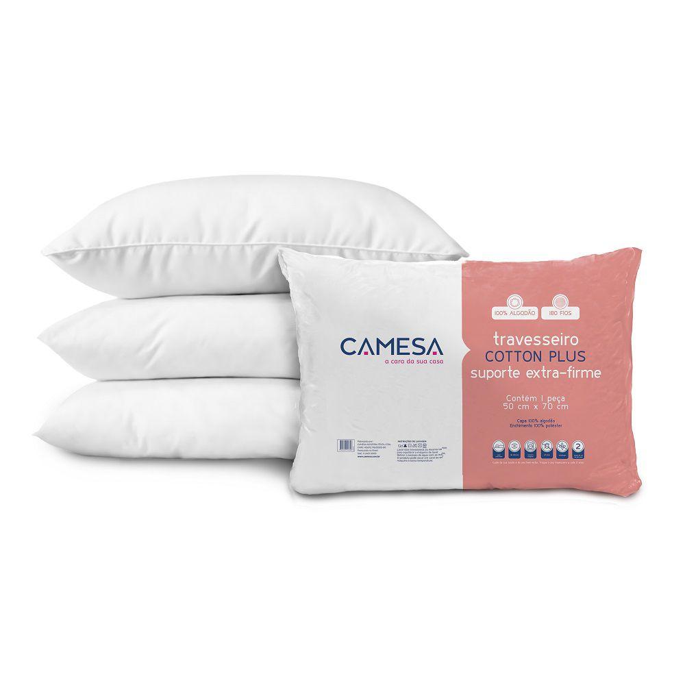 Kit 03 Travesseiros Cotton Plus 100% Algodão Suporte Extra Firme 50x70cm