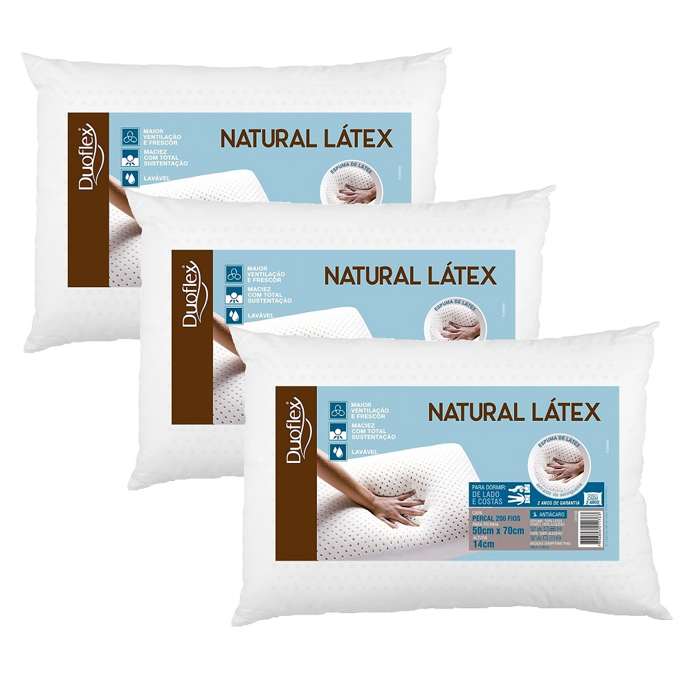 Kit 03 Travesseiros Duoflex Natural Látex 50x70x14cm LN1108