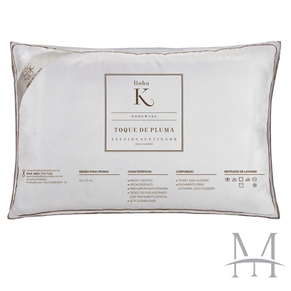 Kit 03 Travesseiros Kacyumara Toque de Pluma 100% Algodão 233 Fios
