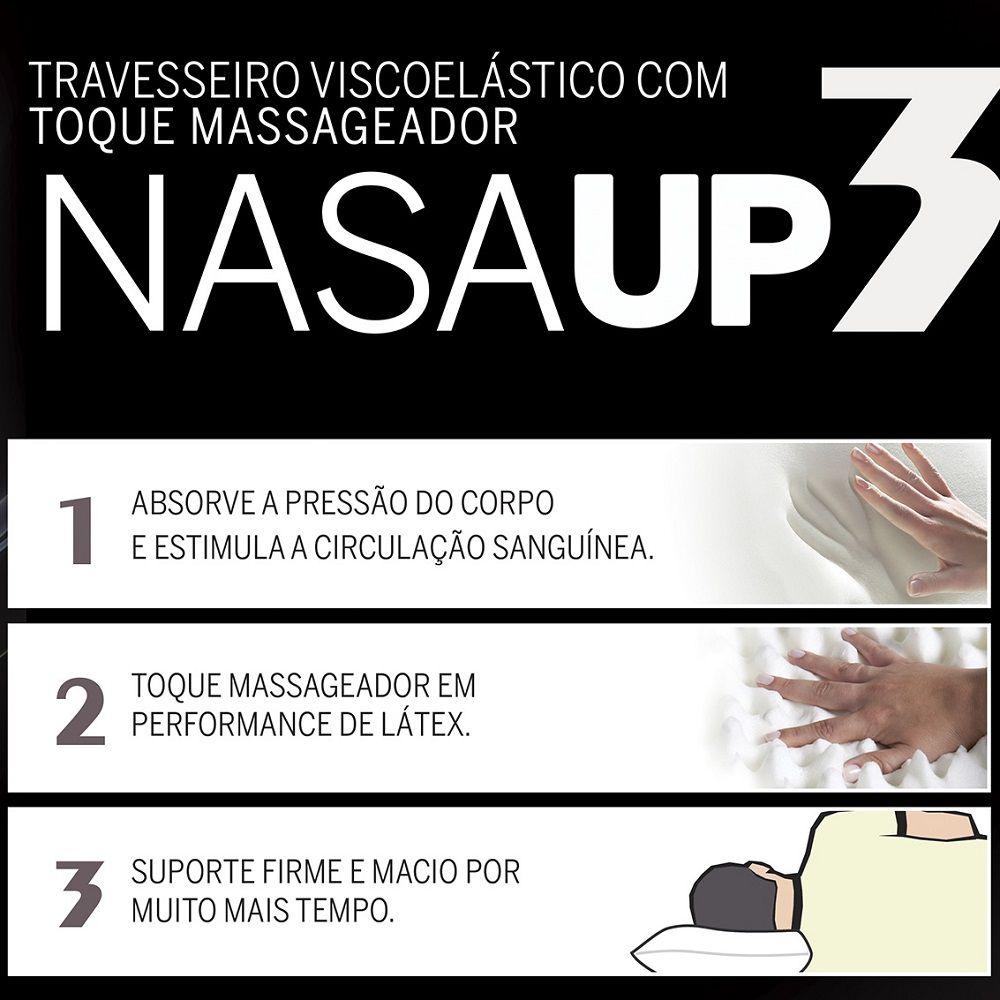 Kit 03 Travesseiros Nasa Viscoelástico Fibrasca Nasa Up3 Suporte Firme