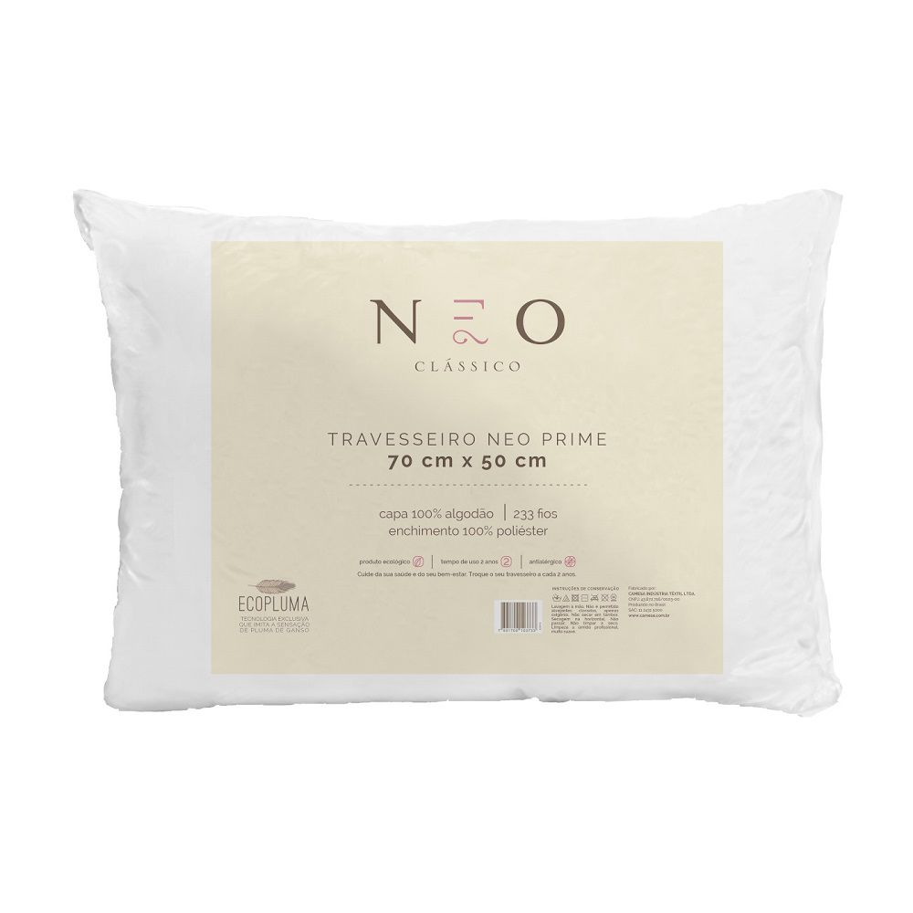 Kit 03 Travesseiros Neo Prime Ecopluma 100% Algodão 233 Fios 50x70cm