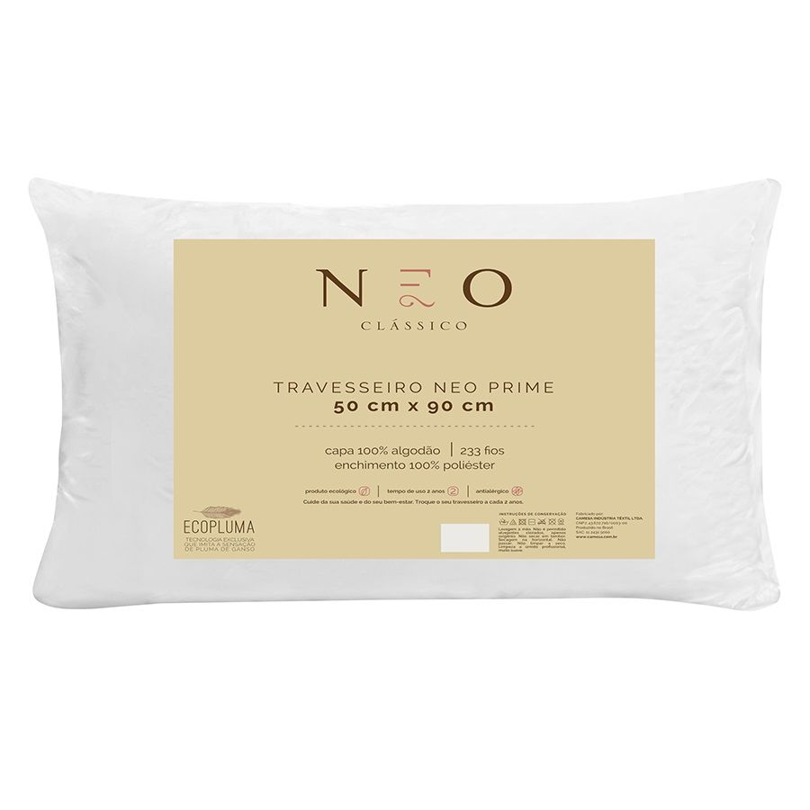 Kit 03 Travesseiros Neo Prime Ecopluma 100% Algodão 233 Fios 50x90cm