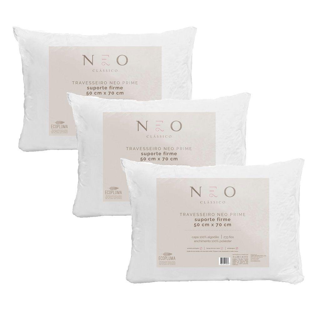 Kit 03 Travesseiros Neo Prime Ecopluma 100% Algodão 233 Fios Firme