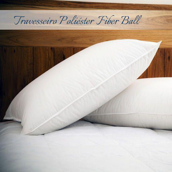 Kit 03 Travesseiros Plooma Fibra Poliéster 0,50x0,70m Fiber Ball