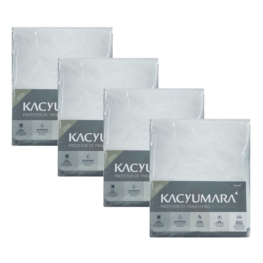 Kit 04 Capas Protetora Travesseiro Impermeável Malha Kacyumara
