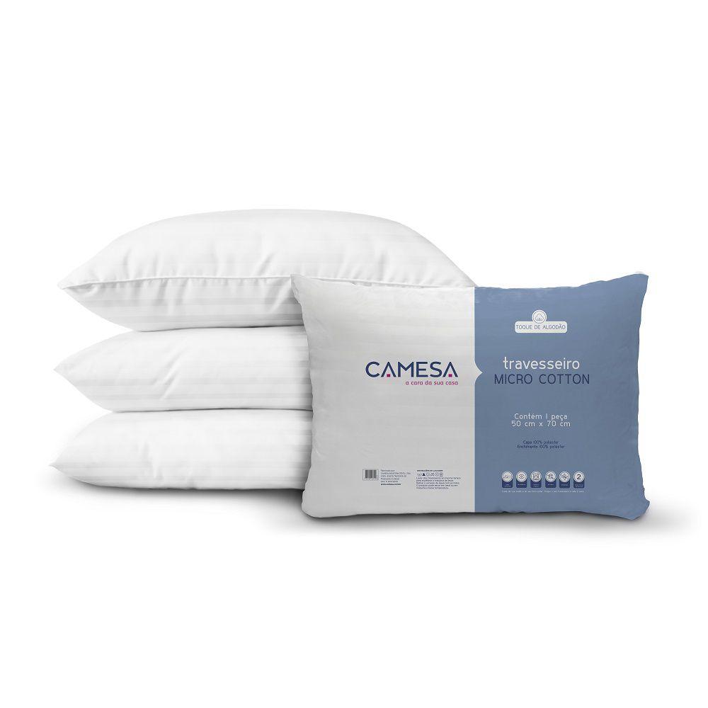 Kit 04 Travesseiros Camesa Micro Cotton Suporte Médio 0,50x0,70m